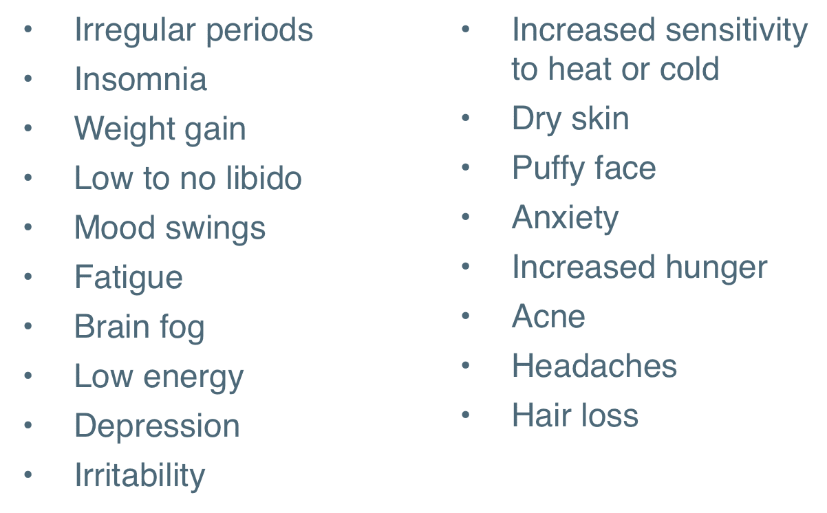 List of perimenopause fatigue symptoms