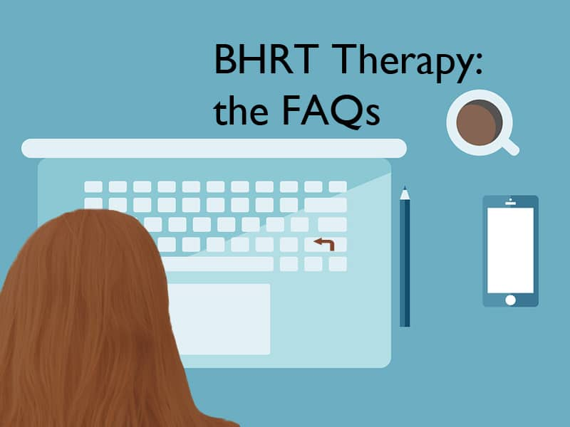 flet illustration of a person looking up BHRT therapy on their computer